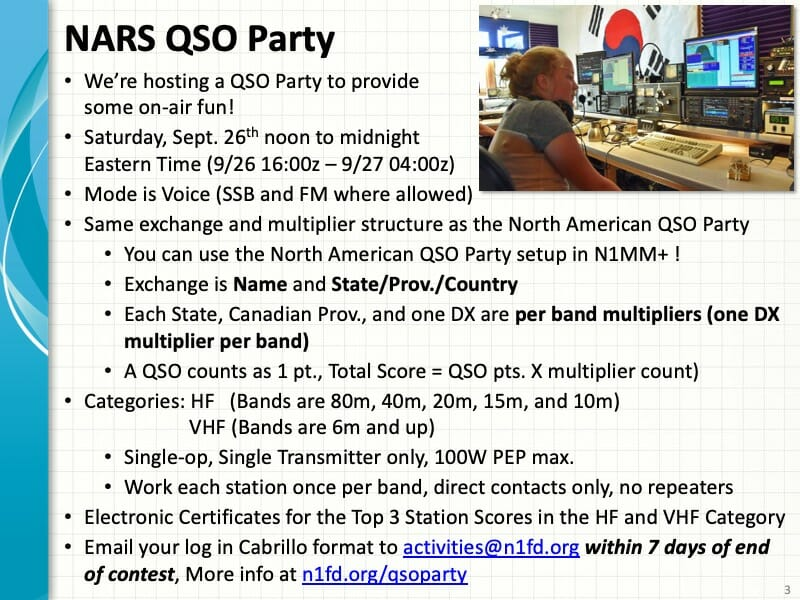 NARS QSO Party rules