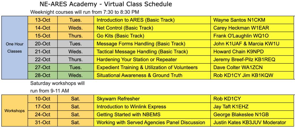 NE-ARES-Academy-Schedule