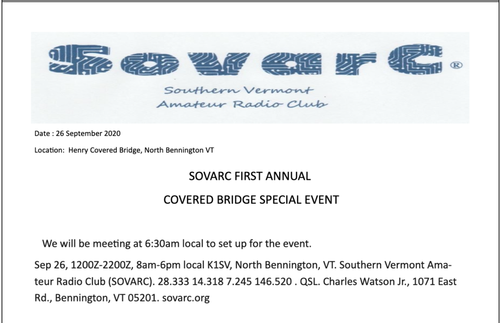 Southern Vermont ARC Covered Bridge special event operation announcement