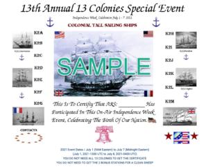 screenshot of 13 Colonies Event homepage