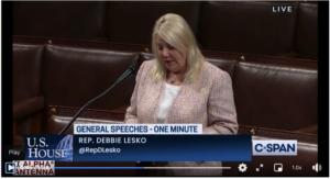 Screenshot of Rep. Debbie Lesko recognizing amateur radio on the House floor