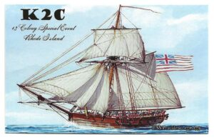 K2C QSL card for 2021 13 Colonies