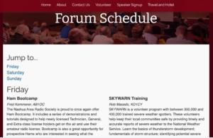 Screenshot of HamXposition forum schedule page
