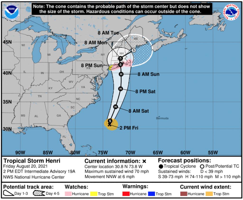 Hurricane Henri cone of probability