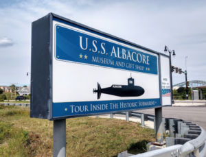 Sign for USS-Albacore Submarine Park, Portsmouth NH